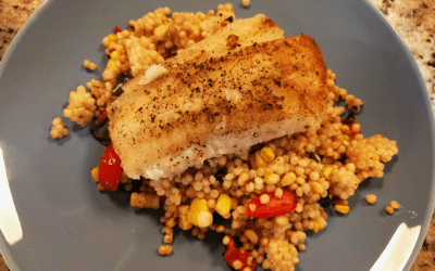 Pan-Seared Cod Filet with Tomato, Corn and Basil Couscous